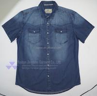 men jean shirt mid blue denim washed