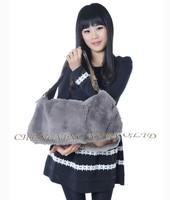 CX-H-26 Real Rex Rabbit Fur Fashion Latest Handbags Ladies