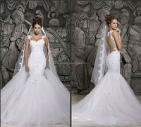 Sexy V-Neck harness Lace Appliqued wedding dresses 2015 new arrival FXL-015
