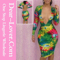 2014 Wholesale Colorful Tie Dye Plunging V Neck sexy jumper dress