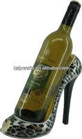 2014 new leopard wine display stiletto wine bottle holder high-heel shoe wine bottle holder