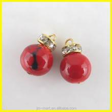 Beautiful Hot Red Color Round Bling Eardrop Pendant, Fashion Charms Pendants Wholesale