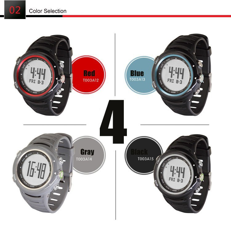 ezon watch T013C12 T013C15 profession sports outdoor running waterproof wristwatch with lumious pedometer heart rate watch
