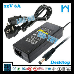 12v 6a switch mode power supply 12V US EU AU UK plug DC connector 5.5*2.1mm