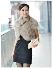 Fake fox fur coat short waistcoat with stand collar