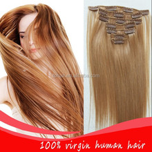 High Quality Fashion Blonde Clip-in/Set Hair Extensions Straight Virgin Clips Hair Wig Hairpieces Bulk Color 613 # 200g,