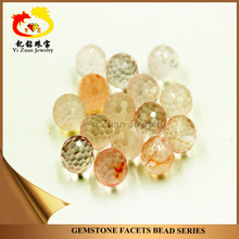 Natural Rose Pink Facets cut Ball Beads Shape Rough Quartz Crystal Loose Gemstone for Semi-Precious Jewelry Pendant.