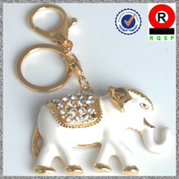 Renqing jewelry factory novelty products 3D white enamel elephant keychain for sell