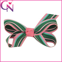 Wholesale Baby Boutique Hair Bow, 3 inch Wave Stripes Printed Baby Girl Butterfly Hair Bow Clips