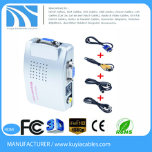 high quality Kuyia Computer PC Laptop Mac VGA to TV RCA Composite Converter Adapter S-Video Box New