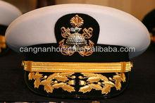 Metal Thread Emboridery Peak Cap/OEM customized military peak cap/military navy air force peak cap