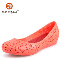 2015 sweet girl Hollowed causal wedge shoes Plastic Clear Jelly PVC Comfortablt Walking flat ballerina shoes for lady