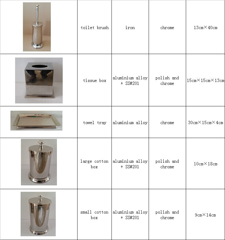 Free Standing Stainless Steel Bath Accessory Set 5 Pc Toilet Brush Stand Tissue Box Small And