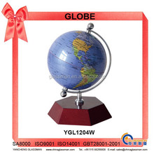 Rotating Plastic Globe With Wooden Base YGL1204W