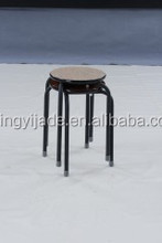 metal stackable stool with wooden top