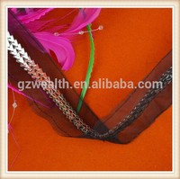 2015 Fashion trimmings with metal chains/organza&mesh base for dresses