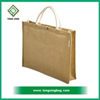 2015 recycled plain fashion promotional cheap jute shopping tote bag