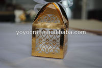 """Golden color Free Logo laser cut """"fence""""Wedding favor boxes with ribbon wedding favour gift box"""