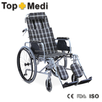 Rehabilitation Therapy Supplies Manual Aluminum Reclining Wheelchair for Handicapped