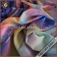 Factory direct popular digital printed gradient color chiffon fabric