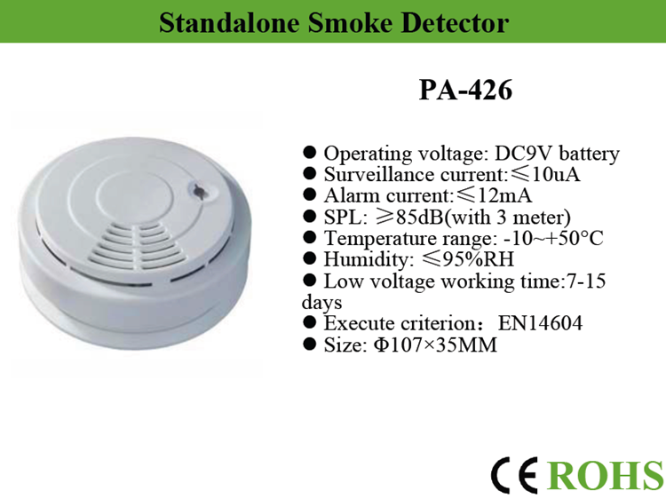 battery operated fire alarm system stand alone cigarette