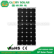 customized 100W PV solar panel with glass lamination and aluminium frame