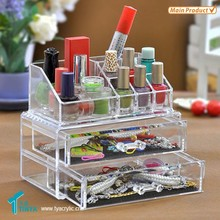 Beauty Shop Retail New Product with 2 Drawers Acrylic Clear Makeup Storage Boxes