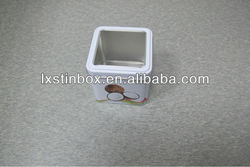 square with PVC window cute business card tin box