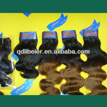 Hot selling modern aaaaa grade remy brazilian hair, omber color cheap two tone human hair weft