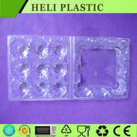 Medium size plastic clear 9 egg carton