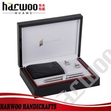 Luxury black wooden gift boxes for cufflink,pen,cellphone