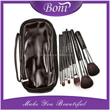 2015 New 8 pcs Soft Goat Hair Make Up Brushes Cosmetic Beauty Makeup Brush Black Sets With Leather Case