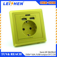 Germany Invention Patent Authorized USB Wall Socket with fast charging 2.1A dual USB chargers