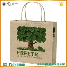 Hot sale custom brown kraft paper carry bags with paper twisted handle