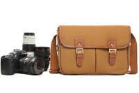 H120 Waterproof Khaki Handcrafted Canvas Leather Camera Bag Professional Camera Bag for Canon Nikon Sony