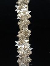 new fashion sash fabric flower crystal trimming chain