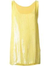 Gros vrac été femmes sans manches t shirt d'été sequin top en jaune