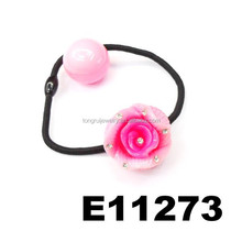 cute children hair tie bungee cord with rose flower ball