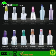 Fancy cosmetic clear plastic PET bottle with cover, transparent pet plastic bottle with sprayer/pump/ for cosmetic packaging