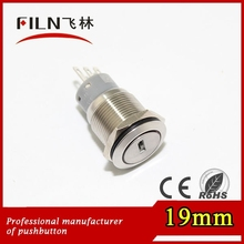 3 position 19mm 3pin explosion-proof stainless steel anti vandal remote push button key switch