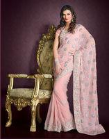 Indian Pink Saree Designer Resham Work