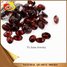 Wholesale Semi-precious Oval shaped Dark red Natural Quartz garnet gem