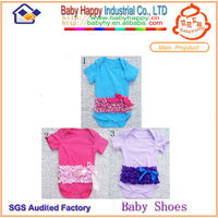 Wholeslae Solid color 2014 Newest fashion girl baby rompers