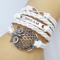 2014 New Mix Infinity leather love owl charm handmade bracelet friendship items for teens FB019