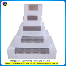2015 White kraft paper and brown kraft paper cupcake box with clear window