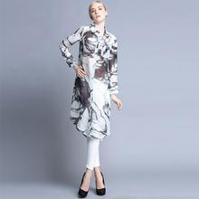 2015 long sleeve chiffon printing maxi cardigan silk and linen for ladies