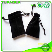 printed fashion drawstring high quality black velvet jewellery pouch