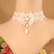 MYLOVE costume jewelry necklace white lace collar MLY245