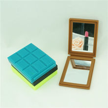 2015 lastest chocolate shape compact mirror, wholesale pocket mirrors, silicone hand mirrors