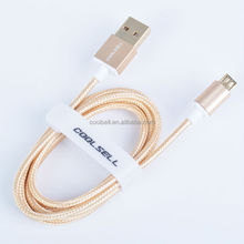 ShenZhen 2015 New design Aluminium Alloy nylon woven round Micro USB Sync Data Charger Cable for iphone5/6